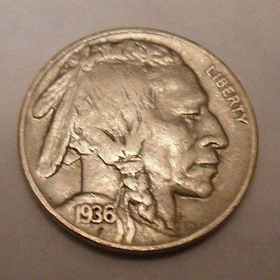 """1936 P Indian Head """"buffalo"""" Nickel   *xf - Extremely Fine*   **free Shipping**"""