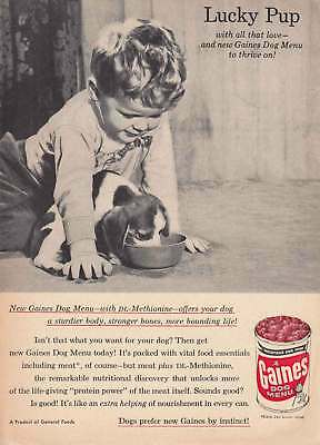 1957 Gaines Dog Menu: Lucky Pup (12833) Print Ad