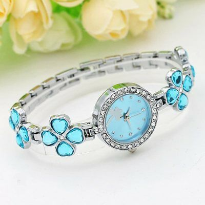 CHIC Women Fashion Bracelet Quartz Watch Clover Flowers Crystal Rhinestone Watch