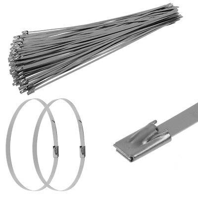 100PCS Strong Stainless Steel Marine Grade Self-locking Cable Ties Zip Wraps AU