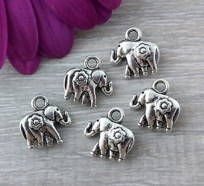 Elephant Flower Charms 5/10/20/50pcs - Small Animal Metal Pendants   CH148