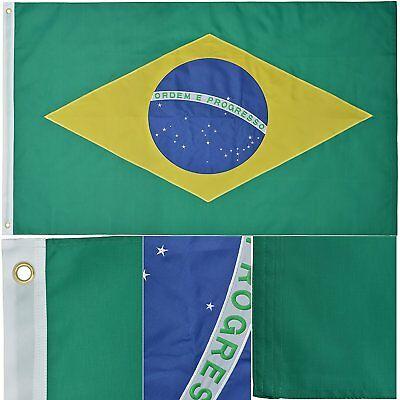 3x5 Ft BRAZIL Flag Deluxe Embroidered Nylon Brazilian Country Flag