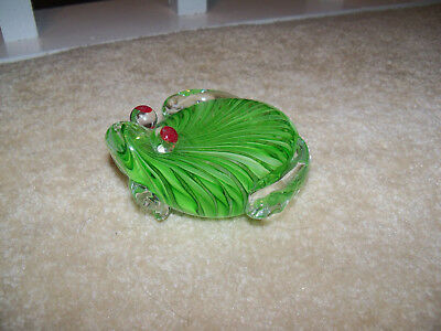 Vintage Glass Paper Weight. Sitting Frog. Green