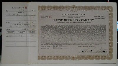 1939 Pabst Brewing Co. Scrip Certificate 1/2 Share Common Stock