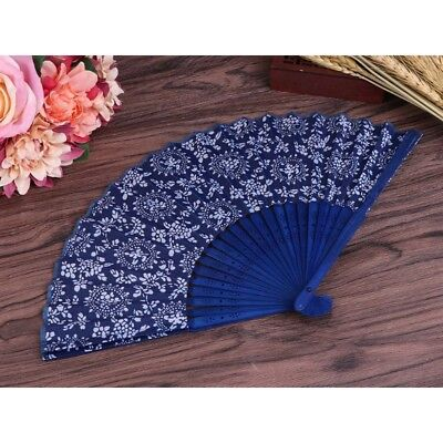 Chinese Folding Hand Fabric Flower Fan Summer Floral Wedding Party Favor Gift