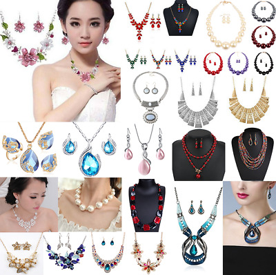 Womens Bib Chunky Crystal Jewelry Set Chain Statement Necklace Earring Wedding