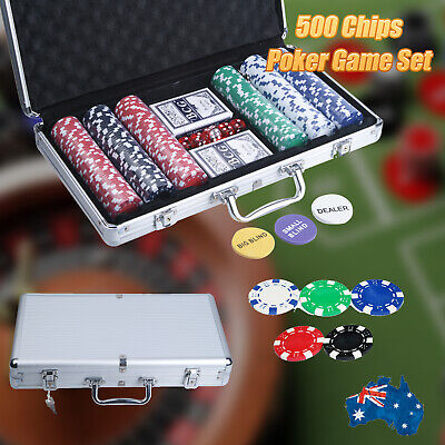 Pro Casino Poker Game Set 300 Chips Dice with Carry Case and Free Accessories AU