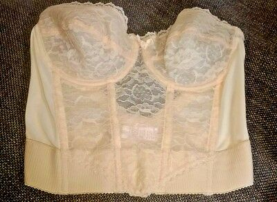 Henson Kickernick Bustier 36C underwire nude lace low back vintage Style 0904