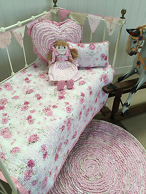 2 pc Vintage Florals Baby Girls Cot Quilt & Cushion Fleur Nursery Bedding