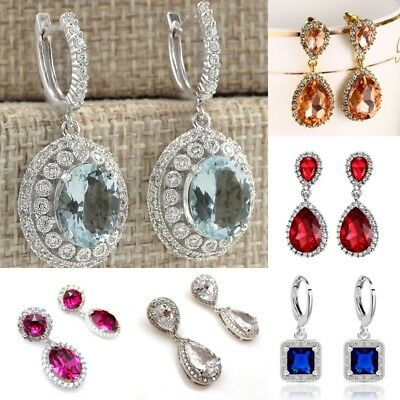 Fashion Women's Jewelry 925 Silver Gemstone Dangle Drop Wedding Hoop Earrings