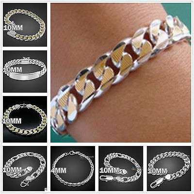 2017Wholesale Jewelry Boy/mens 925Solid Silver Chain Bracelet Necklace