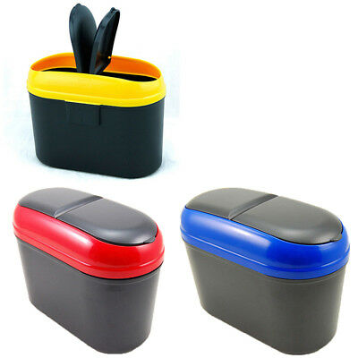 Mini Car Auto Garbage Dustbin Holder Trash Rubbish Bin Clamshell Random Color