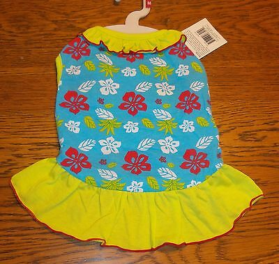 Sz M Blue Hawaiian Print Sundress Dog Dress Small Pet Clothes Dress Apparel nwt