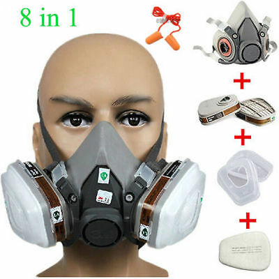 3M 6200 Medium Dust Gas Mask Half Facepiece Spray Paint Protection Respirator UK