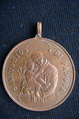 """Rare Old Antique Saint Anthony of Padua """"O blessed tongue"""" Beautiful Italy Medal"""