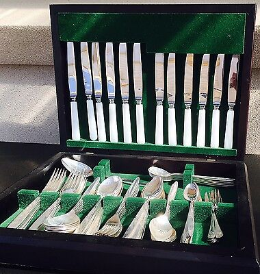 Vintage Canteen Of Mother Of Pearl & Silver Plate Cutlery. 95 Pieces