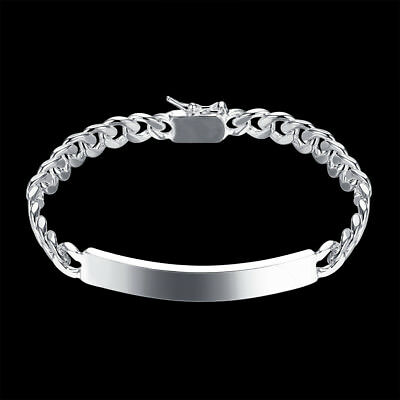 Mens Womens 925 Sterling Silver 8mm ID Cuban Curb Link Chain Bracelet #BR402