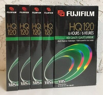 Lot of 5 Fuji FujiFilm HQ 120 6 hours Blank New VHS Video Cassette Tapes VCR