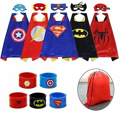 Hero Cartoon Costumes 5 Capes + Mask + Wristband Kid Toddler Boy Party Halloween