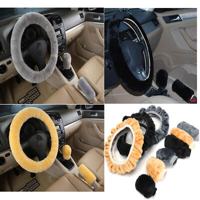 3Pcs Soft Warm Plush Wool Steering Wheel Cover Winter Furry Fluffy Car Accessory