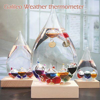 Water Drop Blown Glass Galileo Thermometer Temperature Indicator On Wooden Base