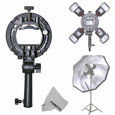 Fomito Flash Bracket with Four Speedlite Adapter holder for Bowen Mount