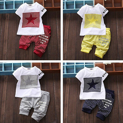 Toddler Kids Newborn Baby Boy Clothes T-shirt Tops Pants Trousers Outfit Set