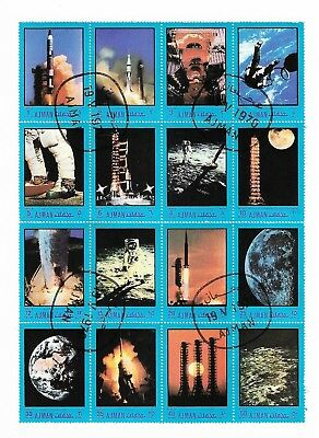 AJMAN - 1970 Space Exploration, Rockets, Astronauts, Moon, block of 16