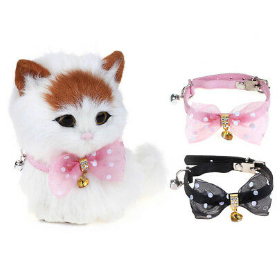 WONPET Shiny Rhinestone Bowknot PU Leather Safety Elastic Cat Collar with Bell