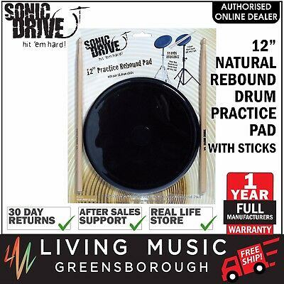 """NEW Sonic Drive 12"""" Natural Rebound Drum Practise Pad Sticks Set for Beginners"""