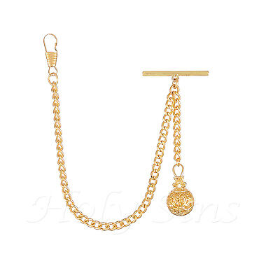 Brand New Gold Colour Single Albert Pocket Watch Fob Chain With Pendant