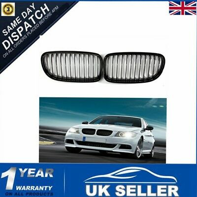 For BMW E90 2009-2012 Pair Gloss Black Baking Varnish Front Kidney Grille Grill
