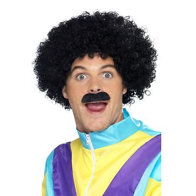 Adult Mens 80s Liverpool Scouser Retro Afro Wig with Tash Costume Accessory Kit