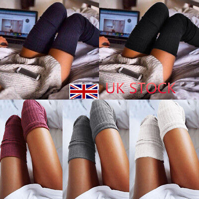 UK Women's Over The Knee Knit Socks Thigh High Stockings Socks Pantyhose Tights