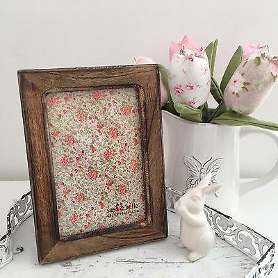 Vintage Style Ditsy Floral Wooden Photo Picture Frame 4 X 6Inch Rustic Dark Wood