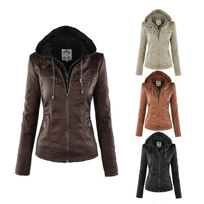 Women's Girls Lady Winter PU Leather Biker Motocycle Bomber Jacket Hooded Coat