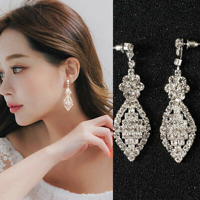 Silver Crystal Drop Earrings Diamante Bridal Type Chandelier Rhinestone Dangle