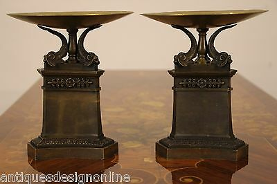 PAIR antique French Empire Bronze URNS TAZZA large cassolettes Thomire Regency