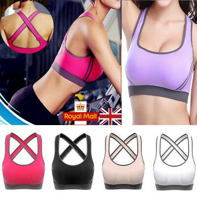 UK Womens Yoga Fitness Stretch Workout Top Seamless Racerback Padded Sports Bra