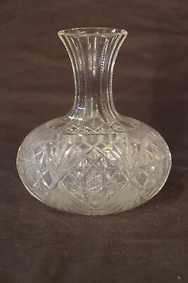 Large antique Victorian cut crystal WINE DECANTER Georgian style ships carafe