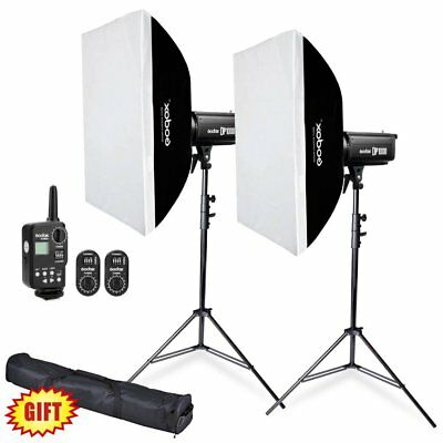 2X Godox DP1000 1000W Strobe Flash Light w/ Flash Trigger + Softbox + Stand Kit