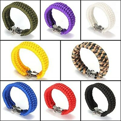 Women Men's Paracord Parachute Rope Bracelet Wristband Survival Hiking Climbing