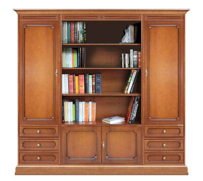 Wall unit for living room, office bookcase, wooden wall unit with open shelving