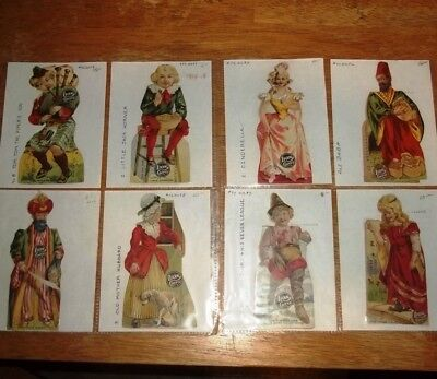 Beautiful Collection of 8 Rare LION COFFEE Advertising Trade Cards Die Cut OLD