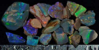 100 Carats Of Solid Quality Lightning Ridge Rough Rubbed Black Opal Parcel 91