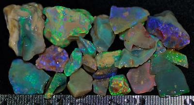 100 Carats Of Solid Quality Lightning Ridge Rough Rubbed Black Opal Parcel 92