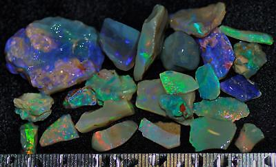 100 Carats Of Solid Quality Lightning Ridge Rough Rubbed Black Opal Parcel 94