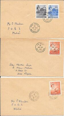 SEYCHELLES SUB OFFICE PMK's ON 3 COVERS 1950's.