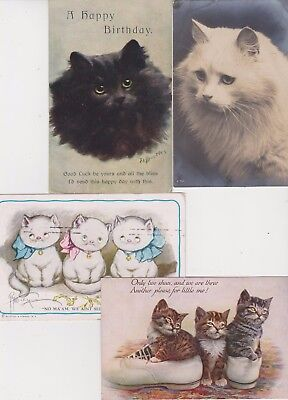 Pc  4 Early Vintage Cat Postcards