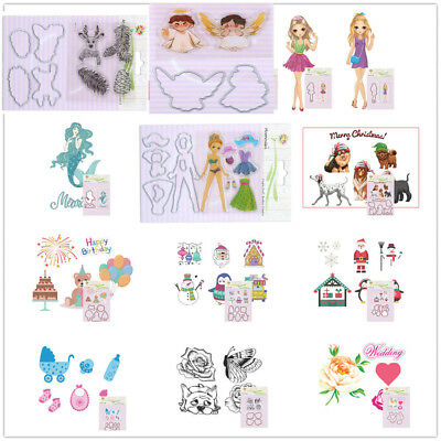 Clear Stamps Cutting Dies Girl Flower Snowman Scrapbooking Paper Cards